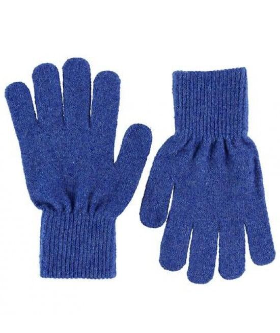 Mănuși cu degete din lână tricotată electric blue CeLaVi