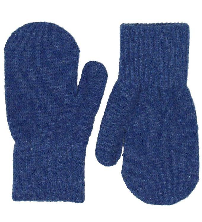 Mănuși pentru bebeluşi din lână tricotată electric blue CeLaVi