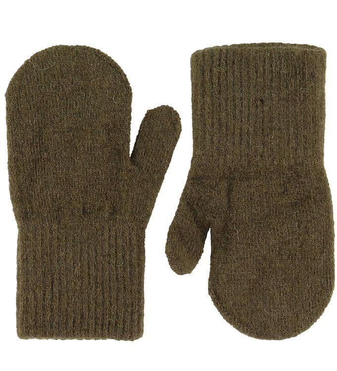 Mănuși pentru bebeluşi din lână tricotată military olive CeLaVi