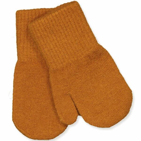 Mănuși pentru bebeluşi din lână tricotată pumpkin spice CeLaVi