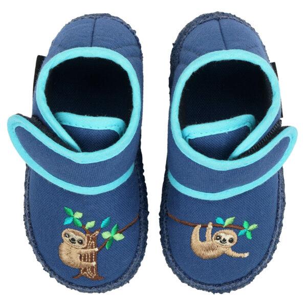 Papuci din bumbac organic cu talpă antiderapantă din cauciuc natural Sloth Nanga