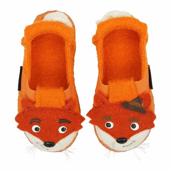 Papuci din lână organică cu talpă antiderapantă din cauciuc natural Fox Nanga
