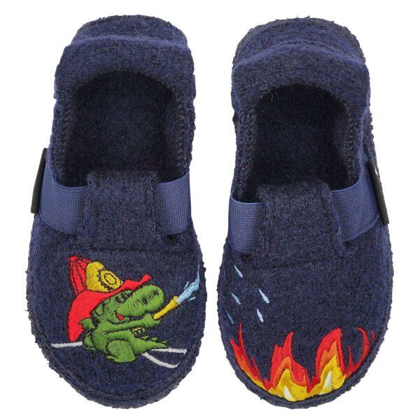 Papuci din lână organică cu talpă antiderapantă din cauciuc natural Little Fireman Nanga