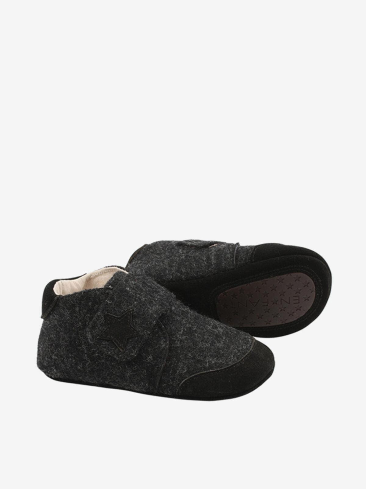 Papuci din piele și lână cu scai și talpă antiderapantă din cauciuc Dark Grey En Fant