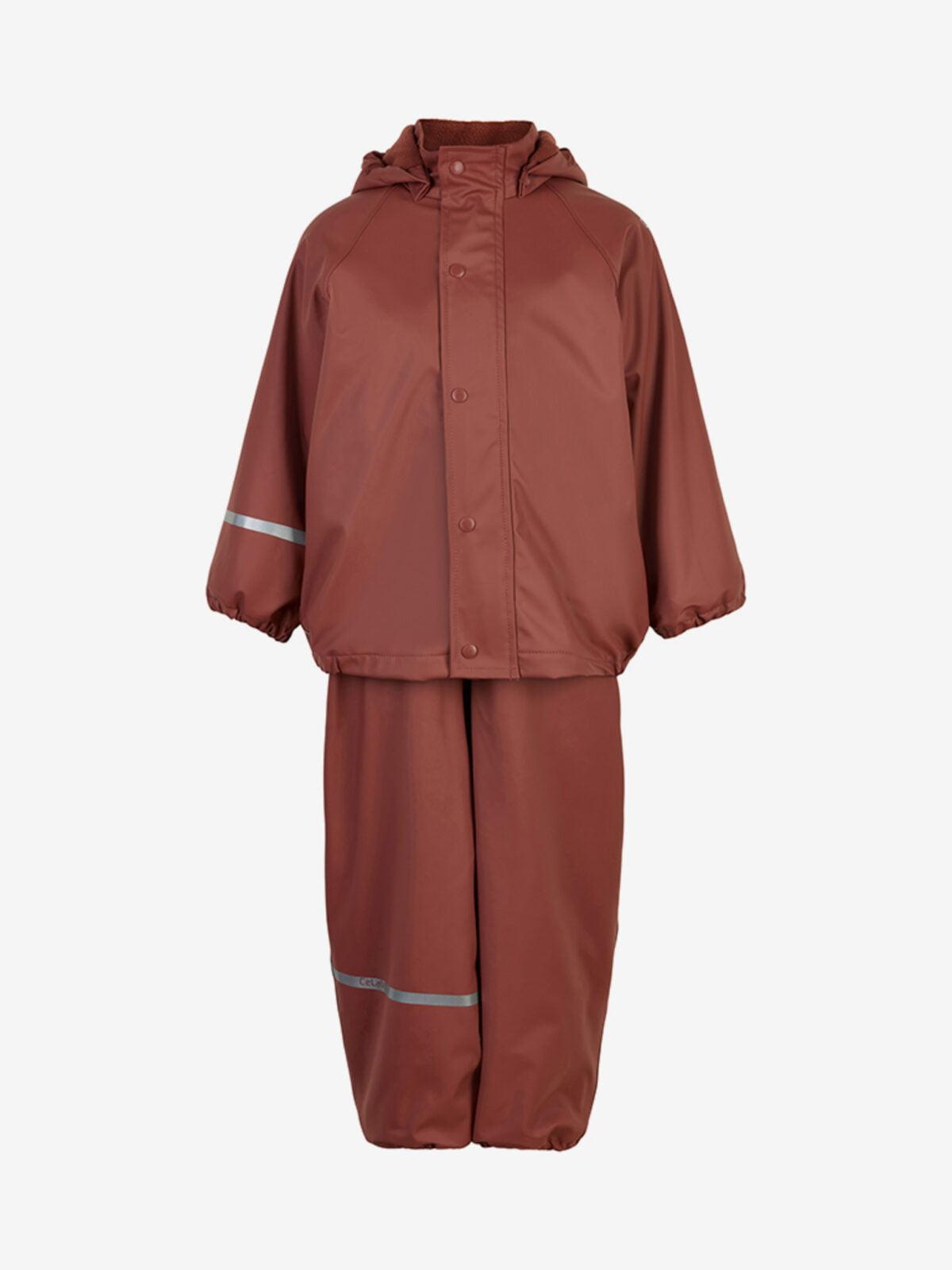 Set de ploaie și vânt (impermeabil) căptușit integral cu fleece mahogany Celavi