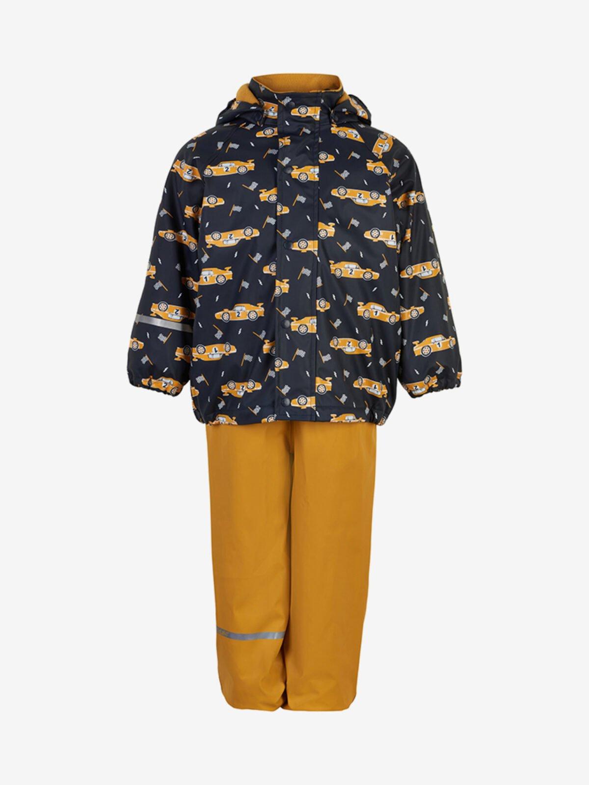 Set de ploaie și vânt (impermeabil) căptușit integral cu fleece mineral yellow Celavi