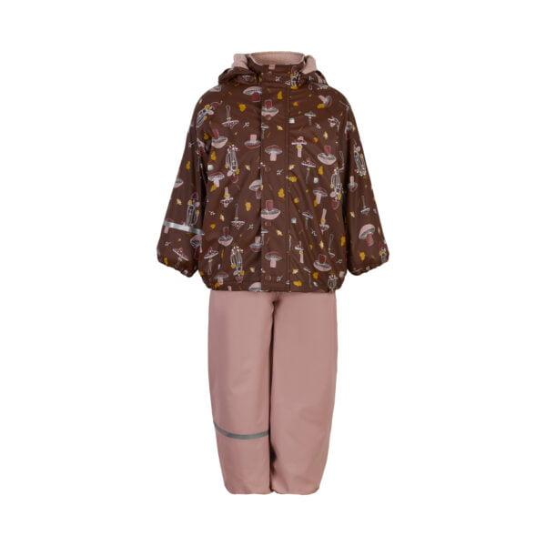 Set de ploaie și vânt (impermeabil) căptușit integral cu fleece misty rose Celavi