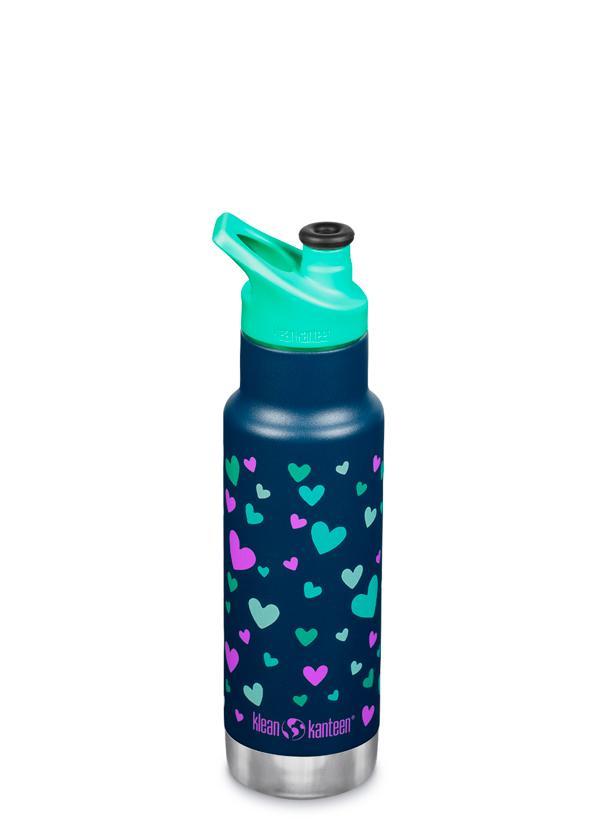 Sticlă termos recipient termoizolant cu capac sport Kid Classic Navy Hearts Matte 355 ml Klean Kanteen