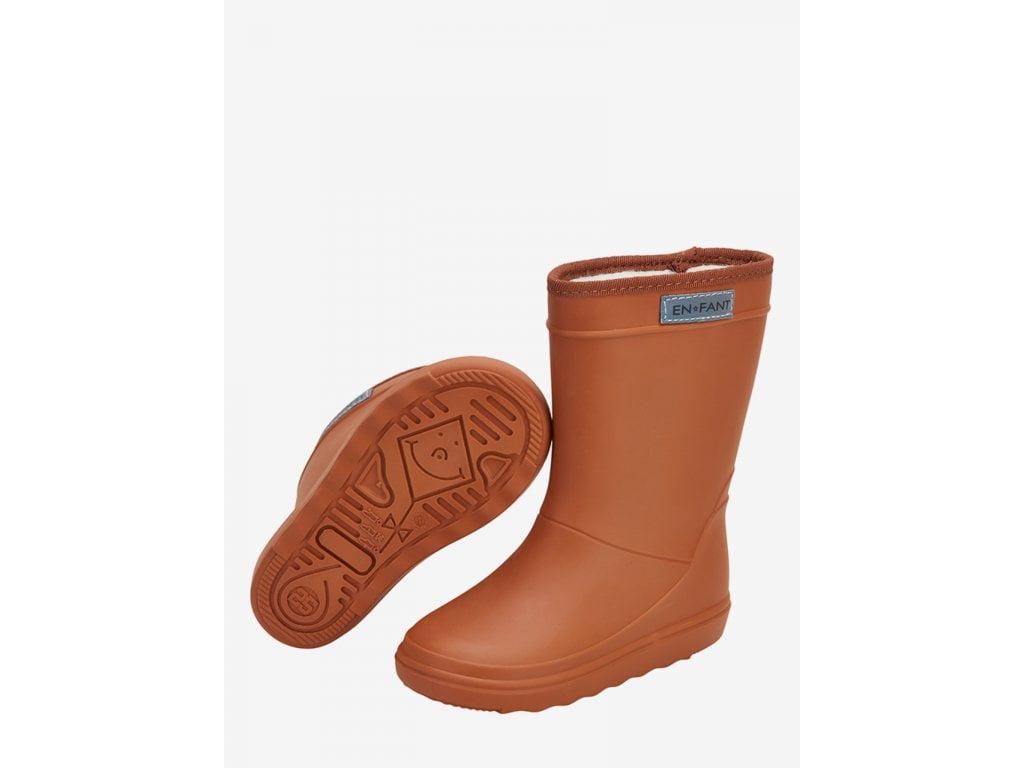 Cizme termice din cauciuc megol pentru copii cu căptușeală din lână naturală Leather Brown En Fant 3