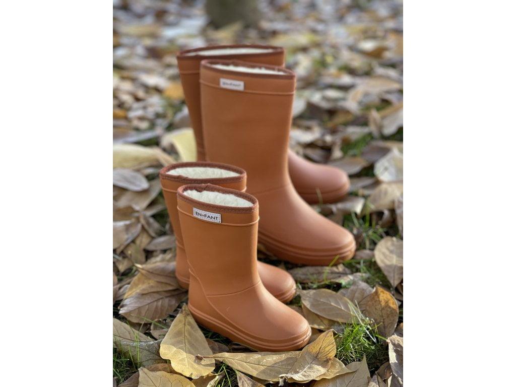 Cizme termice din cauciuc megol pentru copii cu căptușeală din lână naturală Leather Brown En Fant 4