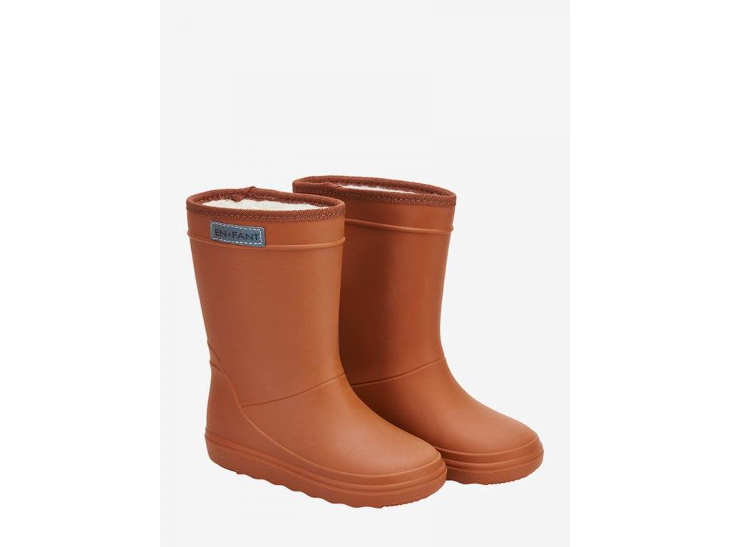 Cizme termice din cauciuc megol pentru copii cu căptușeală din lână naturală Leather Brown En Fant
