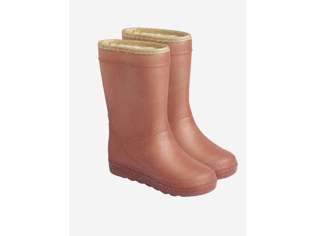 Cizme termice din cauciuc megol pentru copii cu căptușeală din lână naturală și glitter Metalic Rose En Fant