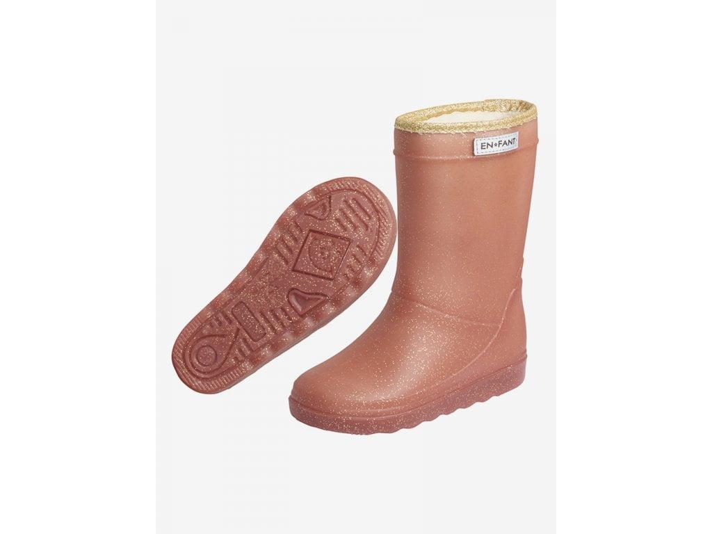 Cizme termice din cauciuc megol pentru copii cu căptușeală din lână naturală și glitter Metalic Rose En Fant 2