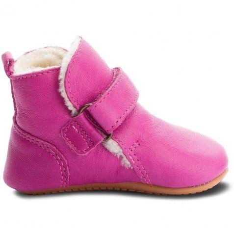 Ghete barefoot din piele căptuşite cu blană de miel cu velcro şi talpă extra flexibilă Fuchsia Froddo