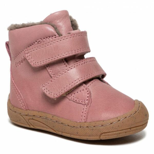 Ghete din piele cu velcro căptuşite cu lână naturală şi talpă flexibilă pink Froddo