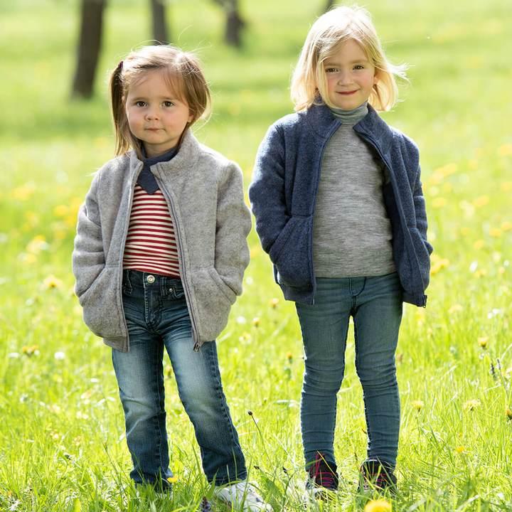 Jachetă light grey melange din lână merinos organică fleece pentru copii - Engel 1