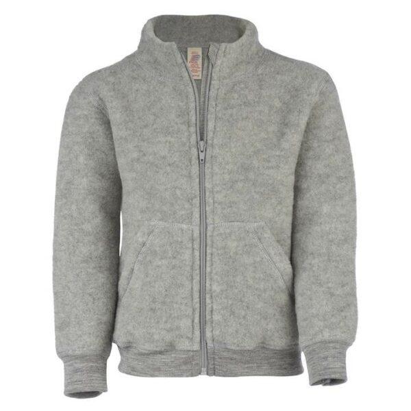 Jachetă light grey melange din lână merinos organică fleece pentru copii - Engel