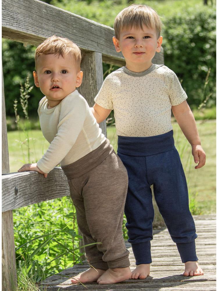 Pantaloni comozi din lână merinos organică blue melange Engel 1