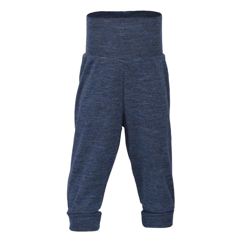 Pantaloni comozi din lână merinos organică blue melange Engel