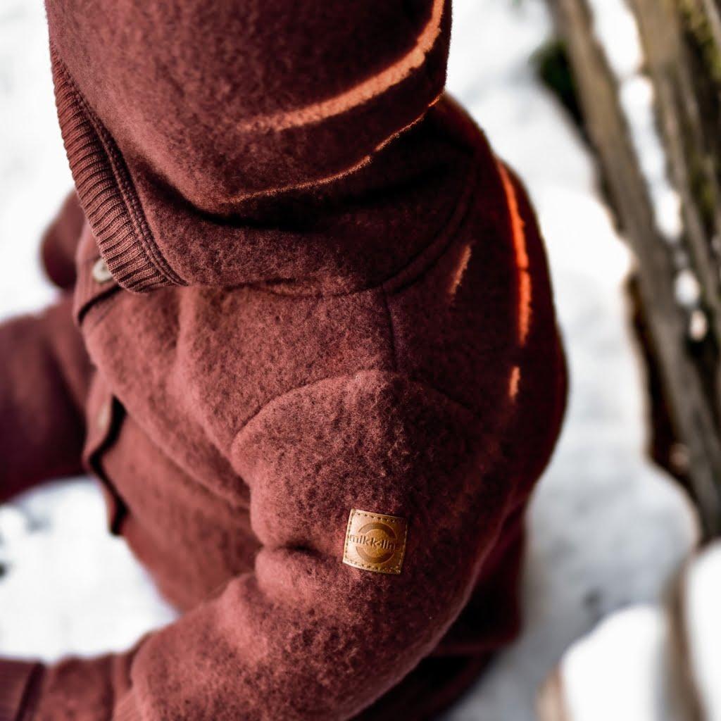 Salopetă - overall cu glugă din lână merinos fleece andorra Mikk-line 3