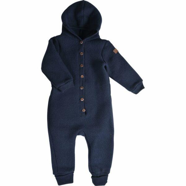 Salopetă - overall cu glugă din lână merinos fleece blue nights Mikk-line